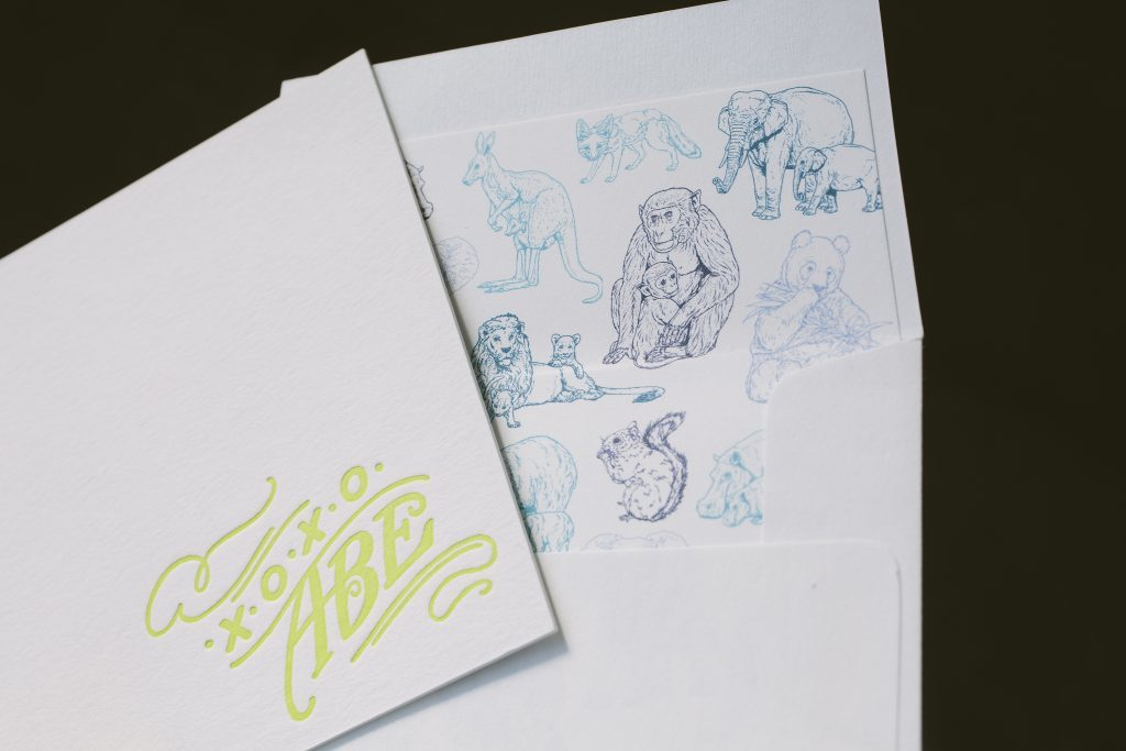 hand lettered foil and letterpress birth announcements | Bella Figura
