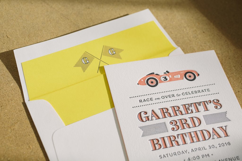 race car themed letterpress birthday party invitations by Bella Figura