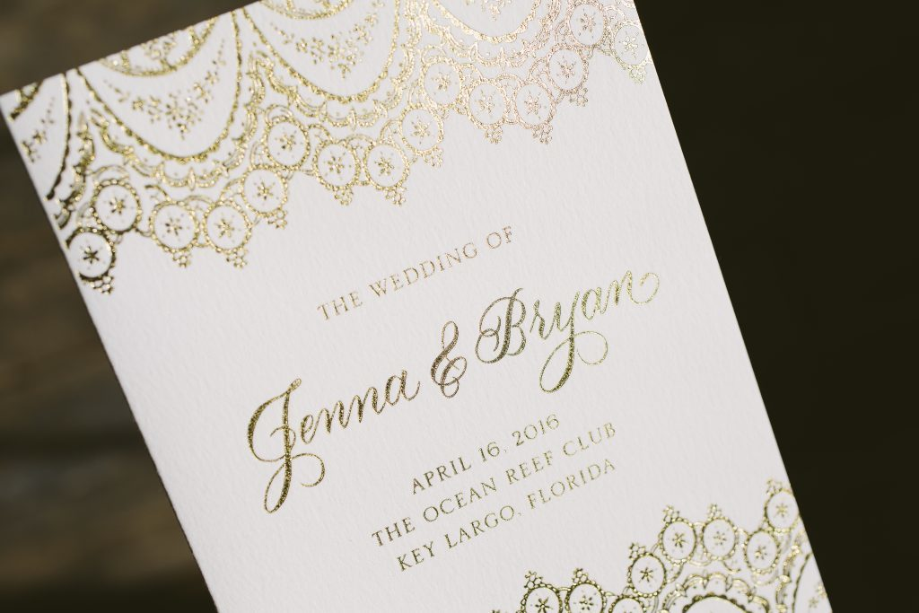 lace inspired gold foil wedding programs and menus  | Bella Figura
