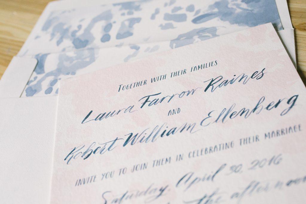 pink + blue watercolor wedding invitations | Bella Figura