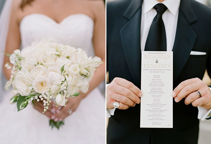 Meaghan & Ben's wedding at the Fairmont Hotel in San Francisco included letterpress + foil stamped programs from Bella Figura and floral design by Cherries