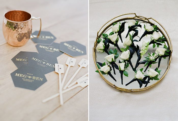Moscow Mules + white boutonnieres