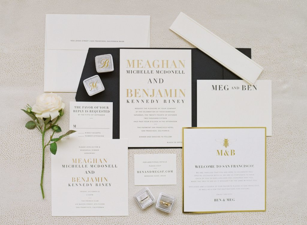 Custom Roosevelt black + gold wedding invitations from Bella Figura