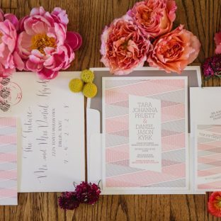 Bella Figura's modern Anais letterpress wedding invitations were featured in Martha Stewart Weddings | Shaun Menary Photography
