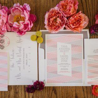 Bella Figura's modern Anais letterpress wedding invitations were featured in Martha Stewart Weddings | Shaun Menary Photography