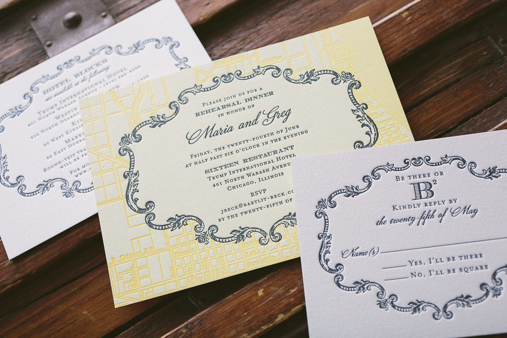 ornate frame letterpress wedding invitations | Bella Figura
