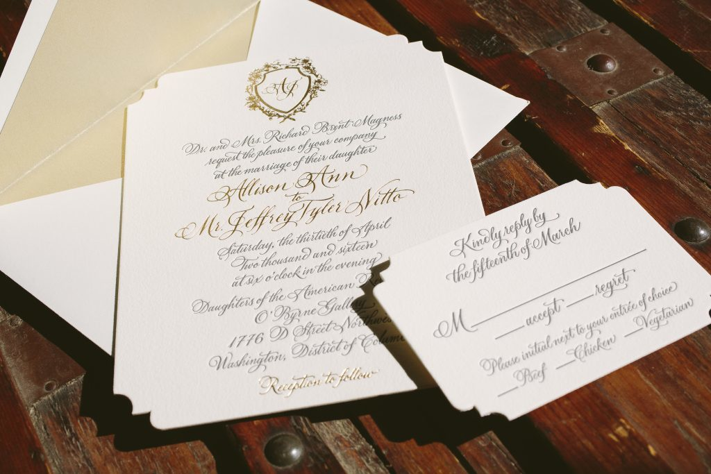 hand calligraphed gray and gold wedding invitations | Bella Figura