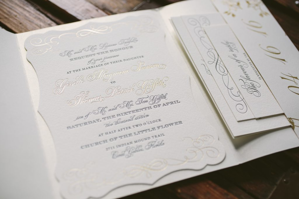 elegant letterpress and foil stamped orchid wedding invitations | Bella Figura