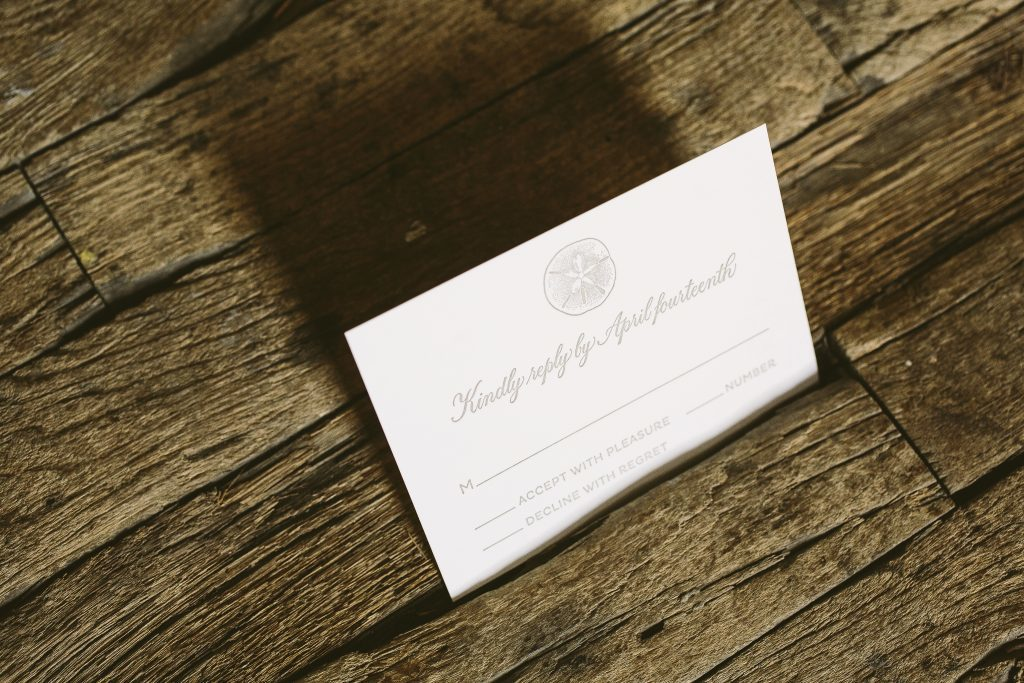 neutral and elegant beach wedding invitations in pearl foil | Bella Figura