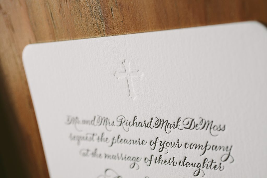 Classic black letterpress wedding invitations featuring hand calligraphy | Bella Figura
