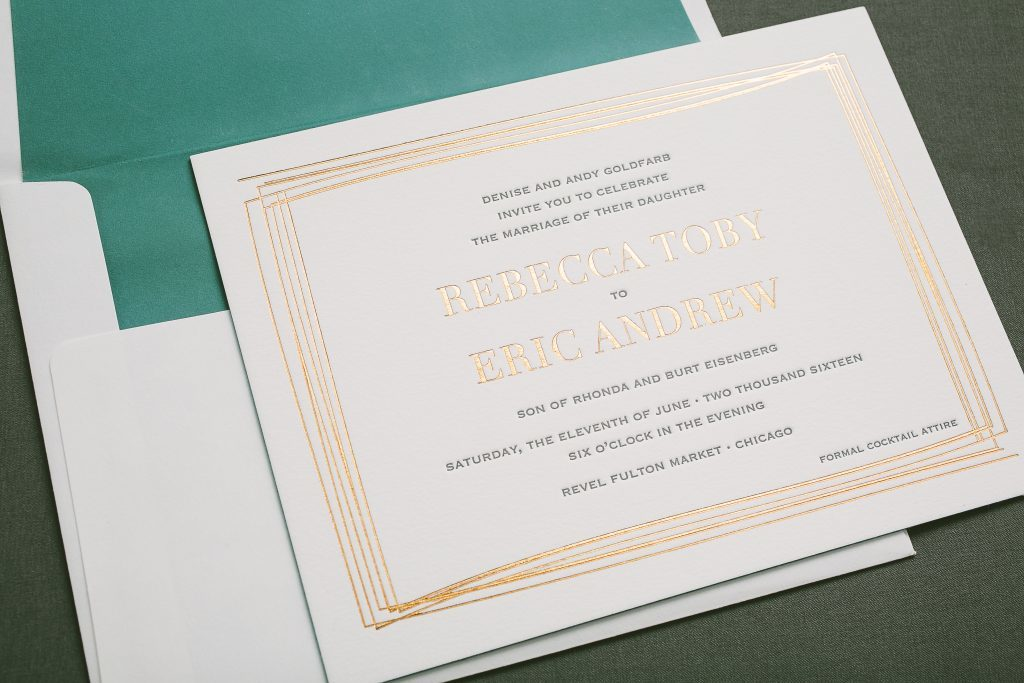 modern linear wedding invitations in copper foil | Bella Figura