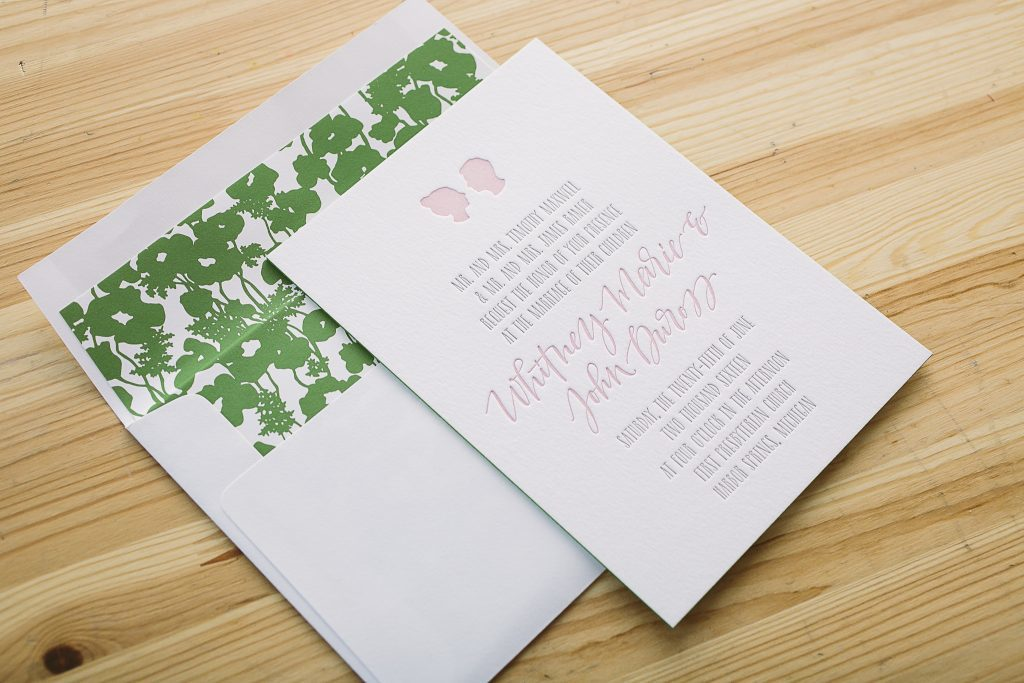 pastel letterpress silhouette wedding invitations | Bella Figura