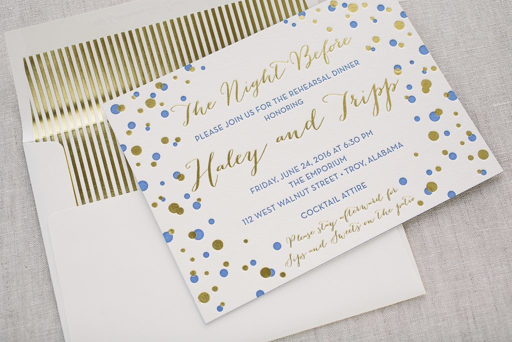 fun + festive letterpress rehearsal dinner invitations | Bella Figura