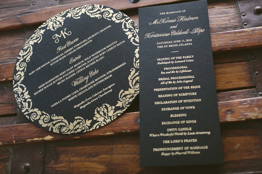 black and gold foil stamped menus and ceremony programs | Bella Figura