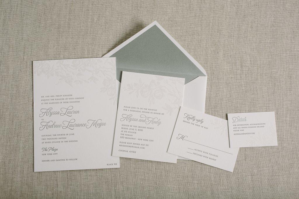 white on white foil stamped floral wedding invitations | Bella Figura