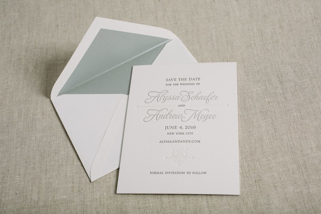 white on white foil stamped floral wedding invitations | Bella Figura