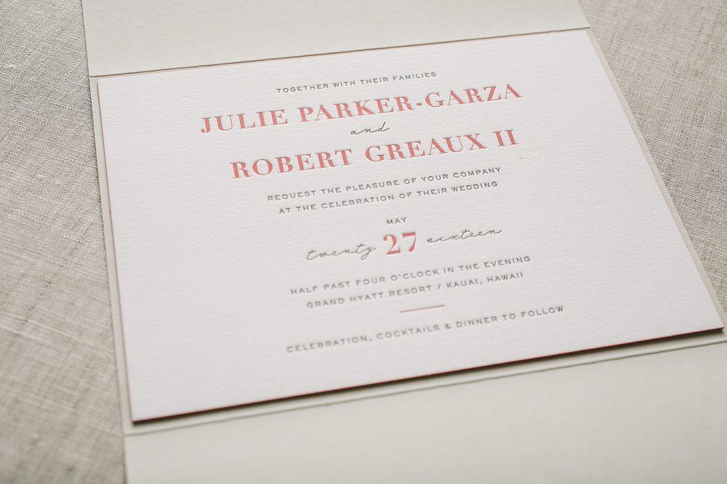 typography wedding invitations for Hawaii wedding | Bella Figura