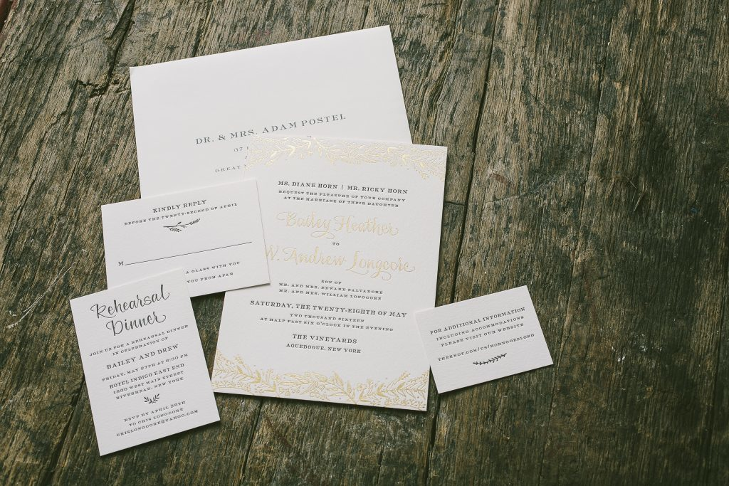 gold foil vineyard inspired wedding invitations | Bella Figura