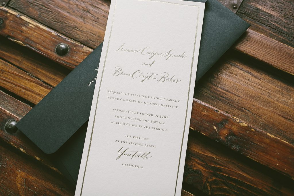 custom wedding invitations with black envelopes | Bella Figura