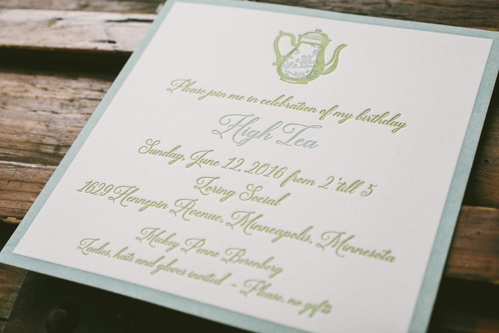 letterpress birthday invitations for formal gathering | Bella Figura