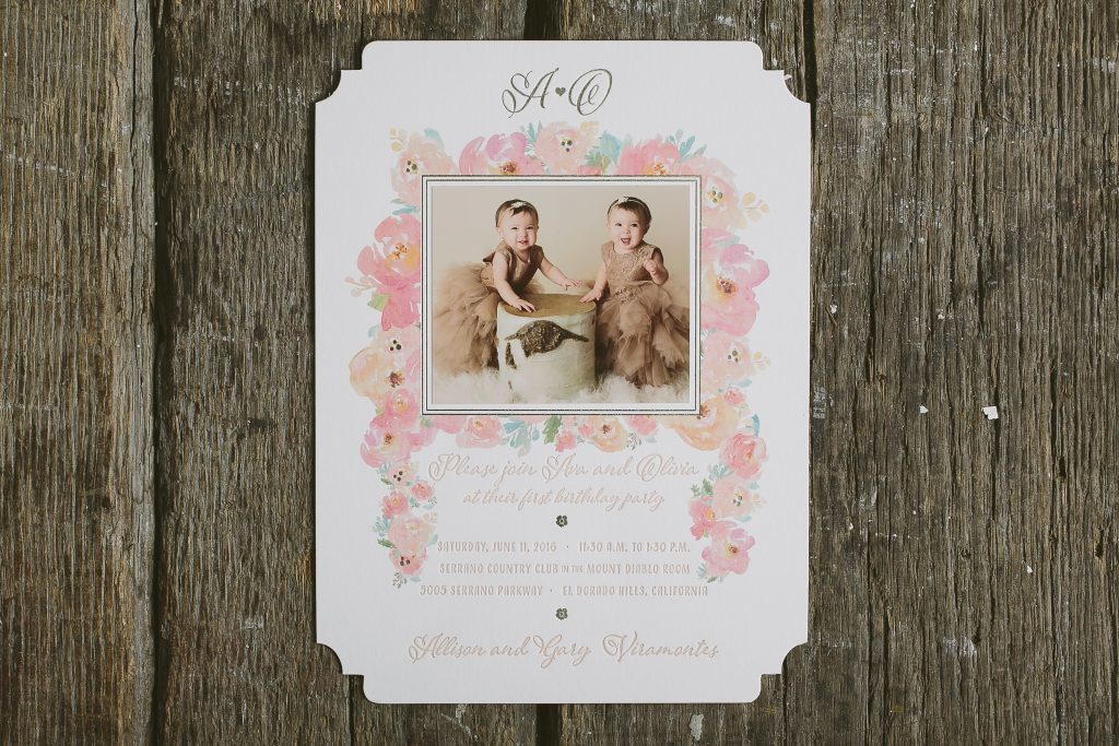 foil stamped floral first birthday party invitations | Bella Figura