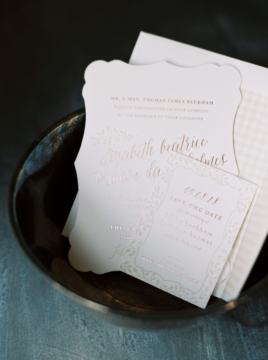 Rose gold Belsay invitations by Amy Graham Stigler for Bella Figura