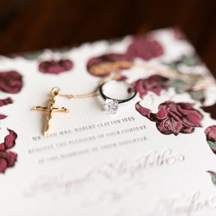 Rose gold Adele wedding invitations by Ellie Snow for Bella Figura