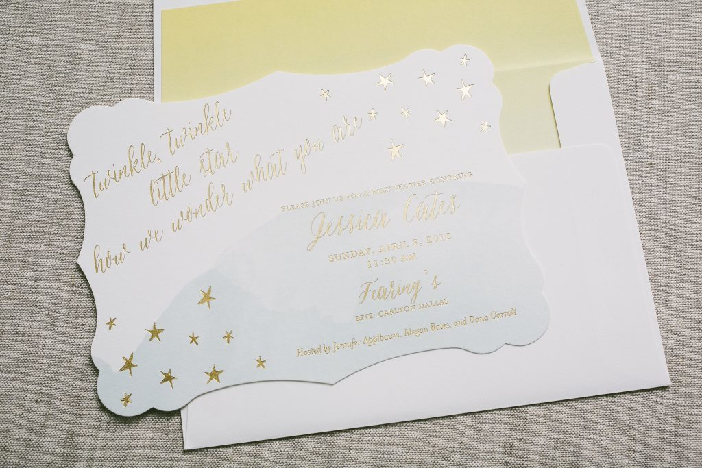 twinkle, twinkle little star gold foil baby shower invitations