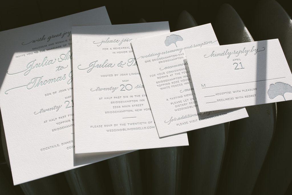 letterpress ginkgo wedding invitations | Bella Figura