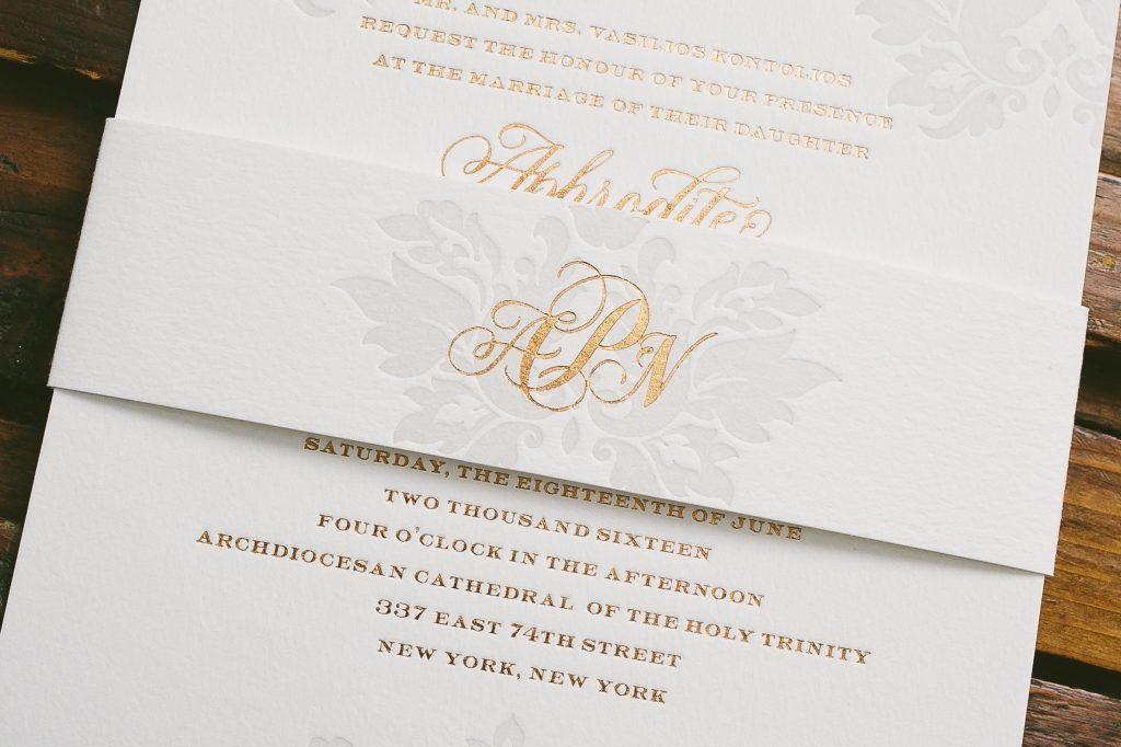 copper foil and pale gray letterpress damask wedding invitations | Bella Figura
