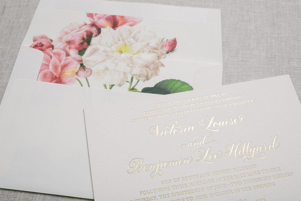 Vintage floral wedding invitations in gold foil - Bella Figura