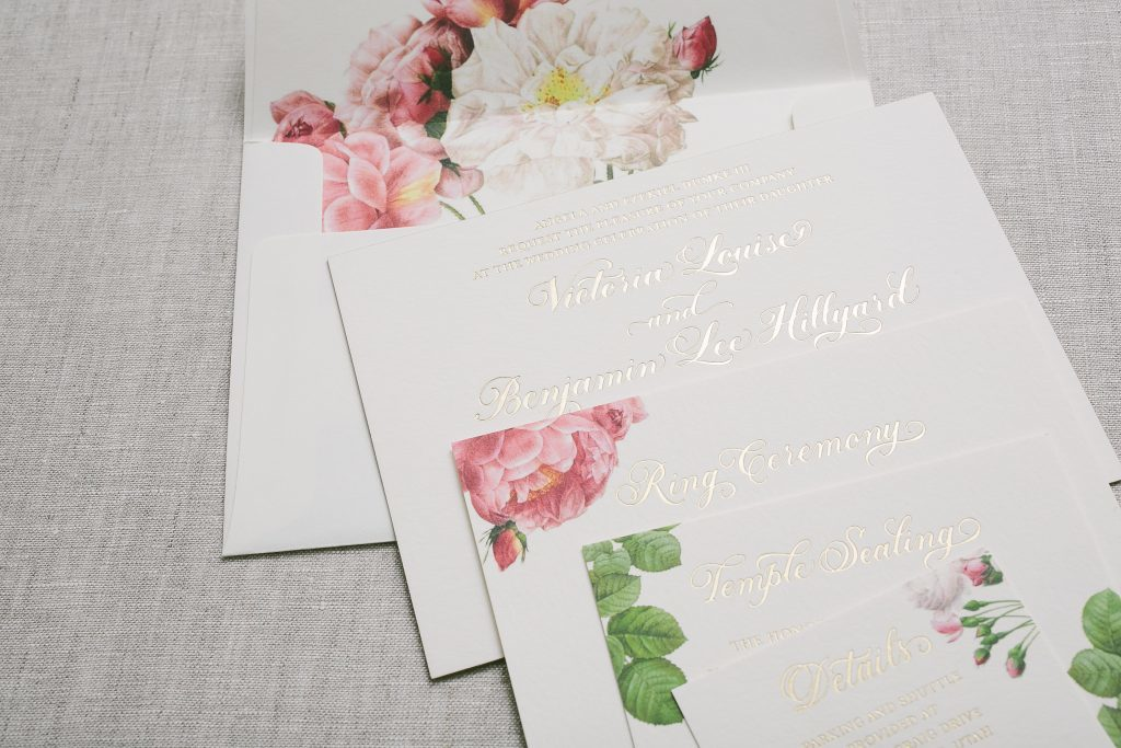 Vintage floral wedding invitations in gold foil | Bella Figura