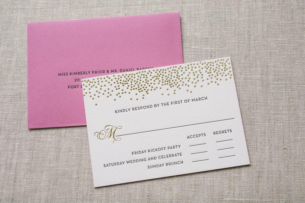Bubbly black and gold wedding invitations | Bella Figura