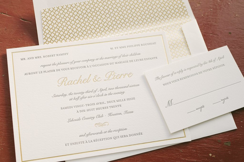 Classic letterpress and foil wedding invitations in French and ...