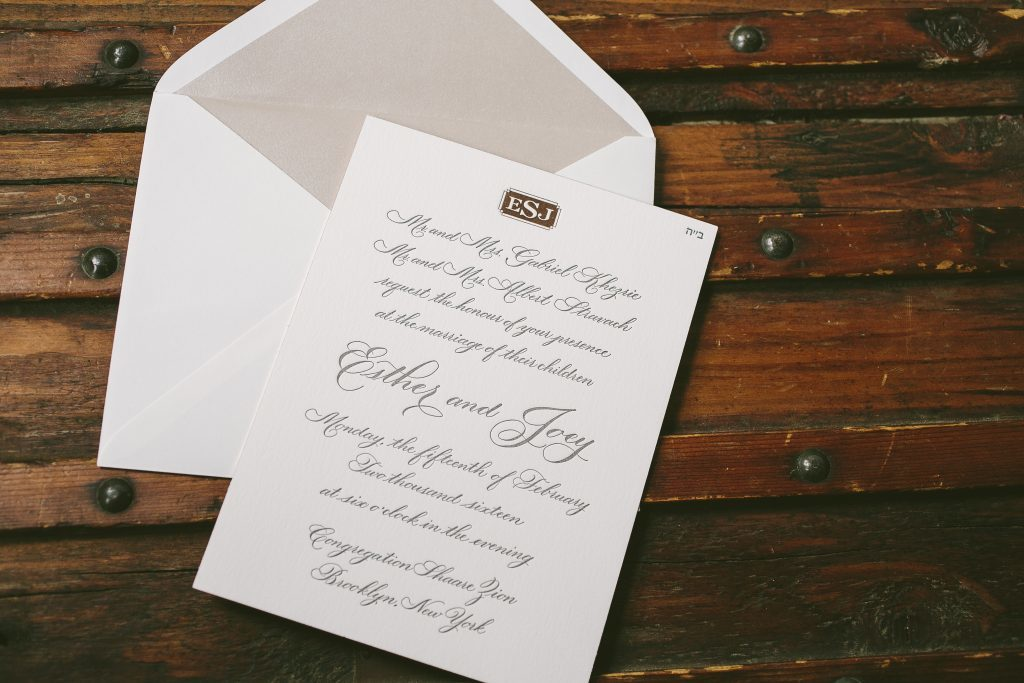 hand calligraphy wedding invitations in charcoal + rose gold shine | Bella Figura