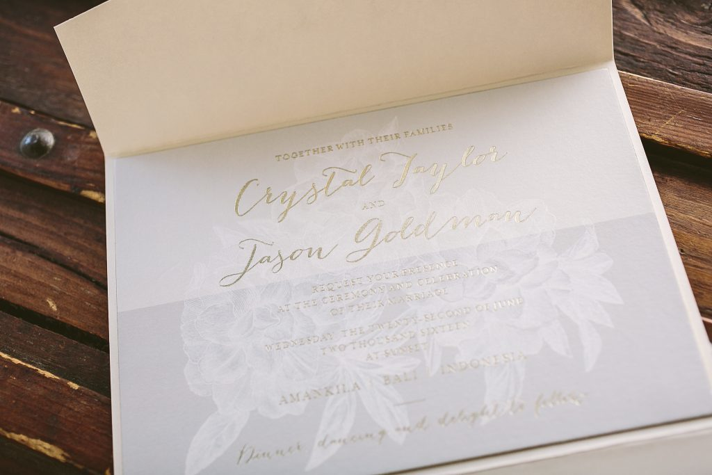 pastel + gold modern floral wedding invitations for Bali wedding | Bella Figura