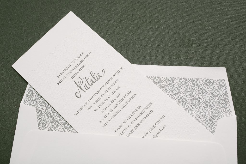 modern letterpress bridal shower luncheon invitations | Bella Figura