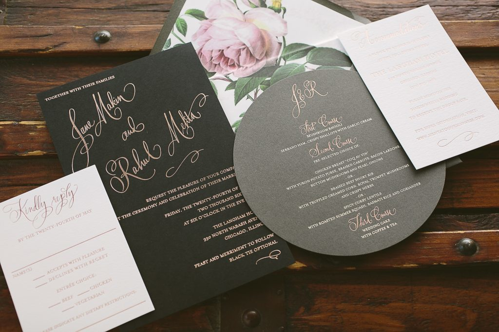 Belperron wedding invitations: rose gold foil on black paper | Bella Figura