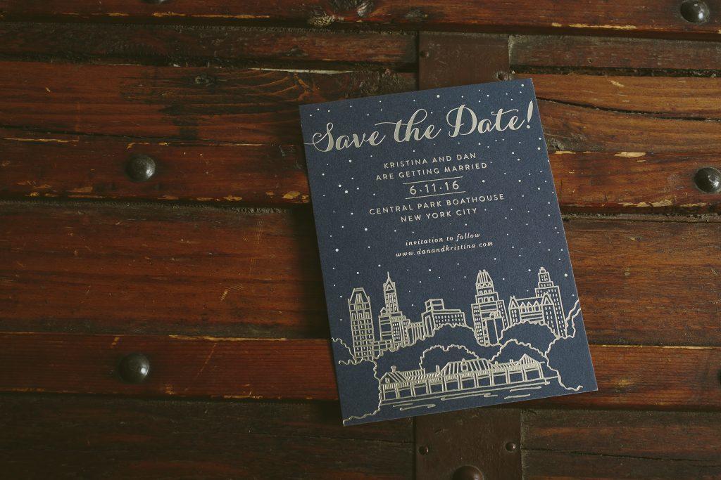 digital + foil illustrated save the dates for Central Park Boathouse wedding | Bella Figura