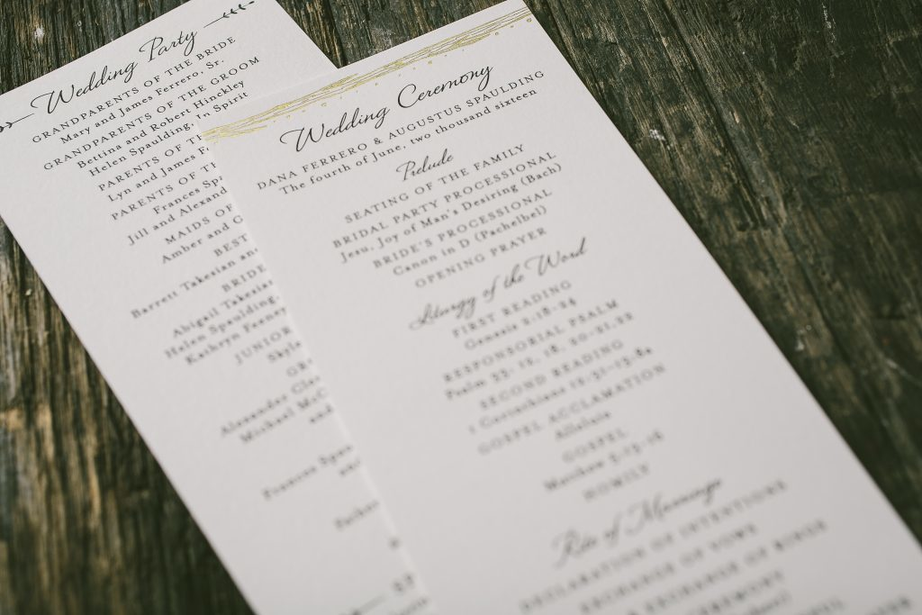 letterpress and foil rustic wedding invitations | Bella Figura