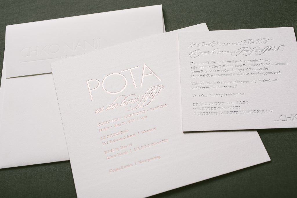 Modern letterpress and foil fiftieth birthday party invitations | Bella Figura