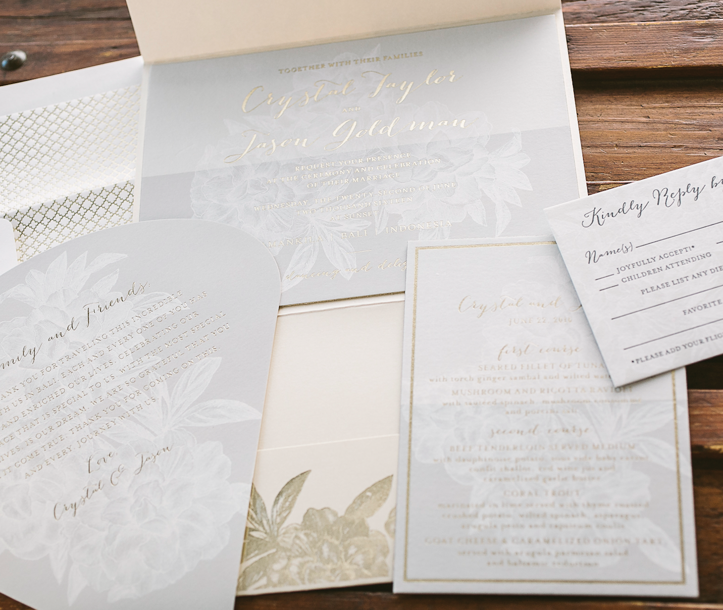 pastel + gold modern floral wedding invitations for Bali wedding ...
