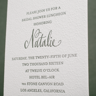 modern letterpress bridal shower luncheon invitations