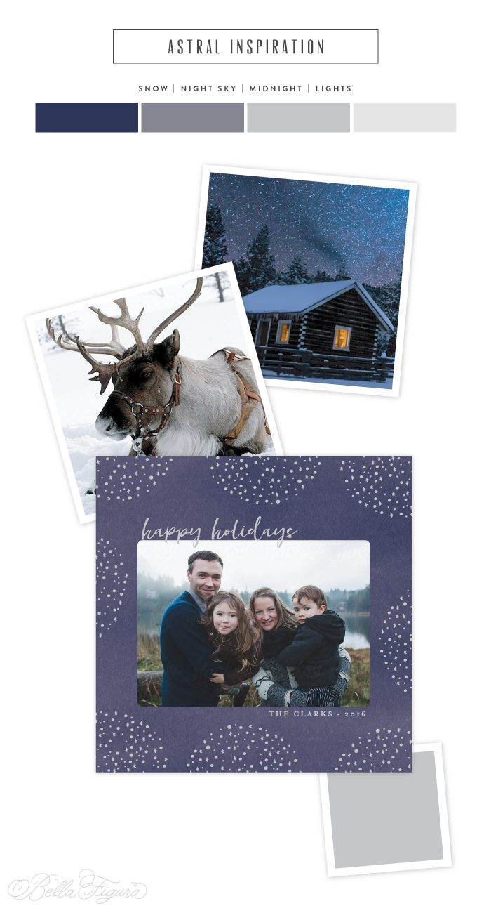 Holiday inspiration - night sky inspired holiday photo card | Bella Figura