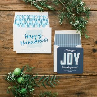 Letterpress Hanukkah card + digitally printed holiday cards from Bella Figura