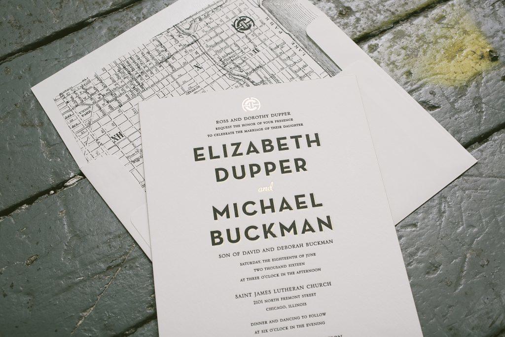 black and gold wedding invitations for Chicago wedding   Bella Figura