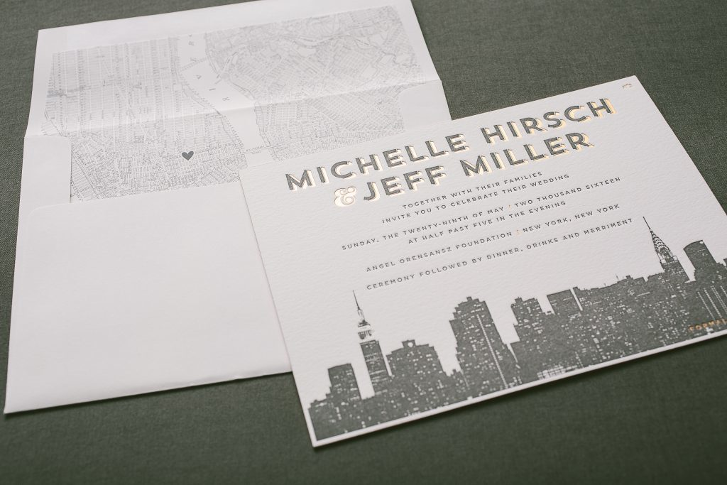 foil stamped + letterpress New York cityscape wedding invitations | Bella Figura
