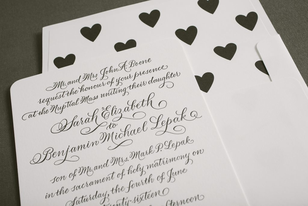 hand calligraphed letterpress wedding invitations | Bella Figura