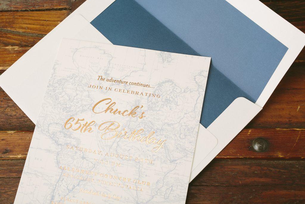 Travel inspired map birthday invitations | Bella Figura