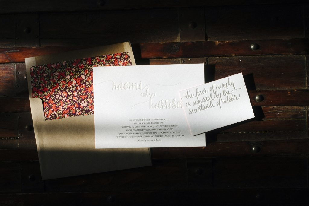 Colette wedding invitations by Kelle McCarter for Bella Figura